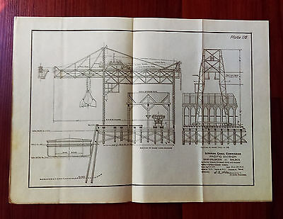 1910 Panama Canal Engineering Diagram Sand Unloader Crane at Balboa Wharf