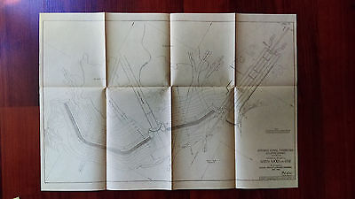 1913 Panama Canal Sketch Map General Plan of Gatun Locks and Dam