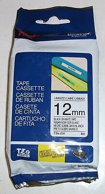 P-TOUCH TZe-231 BLACK ON WHITE LABEL TAPE GENUINE ORIGINAL OEM BROTHER 12MM NEW