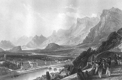 France GRENOBLE ISERE RIVER BASTILLE FORTRESS ~ Antique 1865 Art Print Engraving