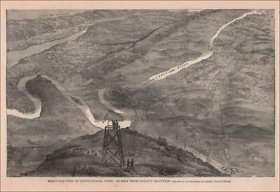 BIRDS EYE VIEW, CHATTANOOGA, TENNESSEE from Lookout Mt., antique engraving 1896