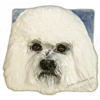 Bichon Frise Dog Ceramic Tile Handmade 3d Pet Portrait Sondra Alexander Art