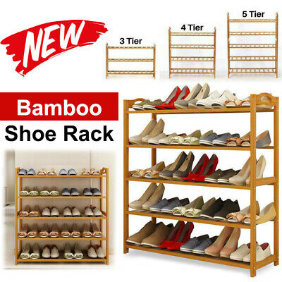 3 4 5 Tiers Layers Bamboo Shoe Rack Storage Organizer Wooden Shelf Stand Shelves