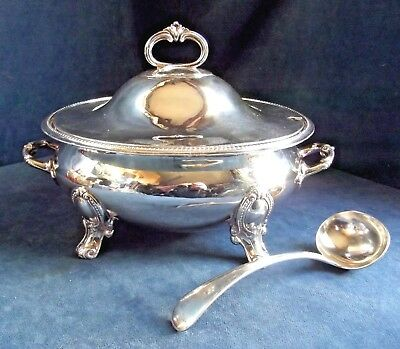 SUPERB ~ SILVER Plated ~ Soup / Serving TUREEN & LADLE ~ c1900