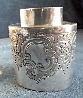 SMART Ornate ~ SILVER Plated ~ CHASED Tea CADDY ~ c1900 by Lee & Wigful