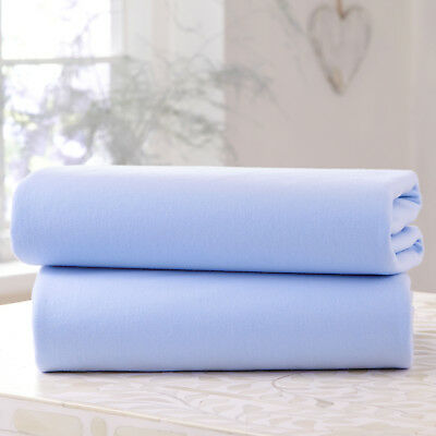 New Clair De Lune Two Pack Blue Jersey Cot / Cot Bed Flat Sheets 100% Cotton