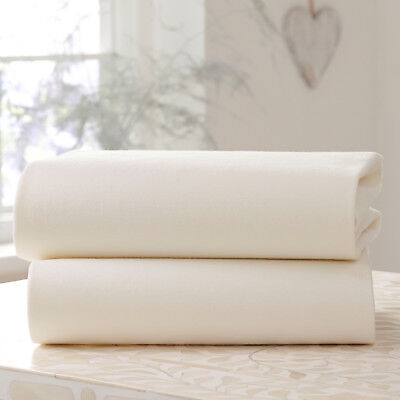 New Clair De Lune Two Pack Cream Jersey Cot Bed Flat Sheets 100% Cotton 130 X175