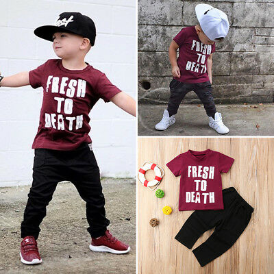 2Pcs Toddler Kids Baby Boys Short Sleeve Tops T-shirt Long Pants Outfits Clothes