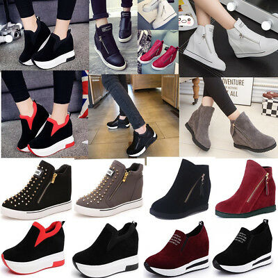 AU Women Casual Platform High Top Ankle Boots Hidden Wedge Shoes Flat Sneakers