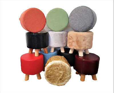 Luxury Chic Wooden Footstool Pouffe Stool Foot Rest Padded Seat Shabby Kids Seat