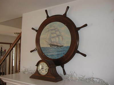 """Large Deluxe Wooden Ship's Steering Wheel 43"""" Nautical installed Canvas PAINTING"""