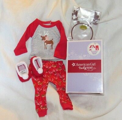 "American Girl Festive Reindeer Pajamas PJ Set 18"" Doll outfit Clothes NEW OG MLA"