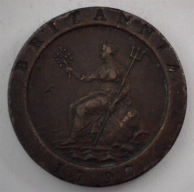 Great Britain 1797 Large 2 Pence With Cartwheel Luster  Vf/xf