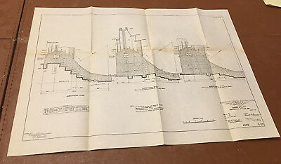 1910 Panama Canal Sketch Diagram Showing Gatun Spillways Section of Spillway Dam