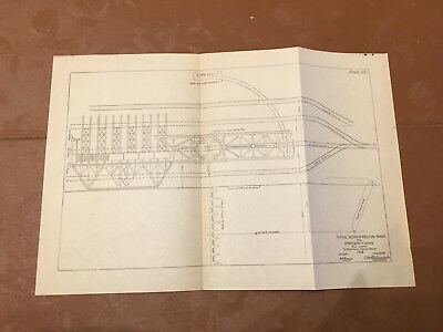 1913 Panama Canal Sketch Diagram Erection Tracks for Emergency Dams All Locks