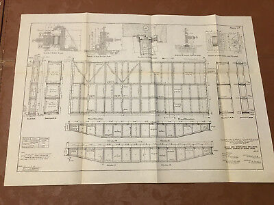1910 Panama Canal Diagram of Gatun & Miraflores Spillways Drawing Stoney Gates