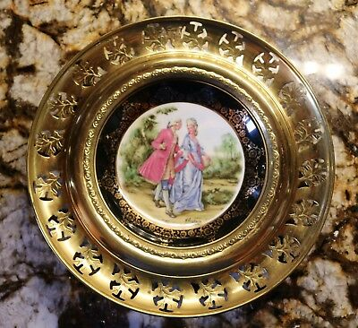 Vintage Regency Bone China & Brass Wall Plate Made in England French Country