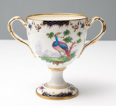 Antique Cauldon Ltd China Twin Handle Loving Cup with Exotic Birds c1915