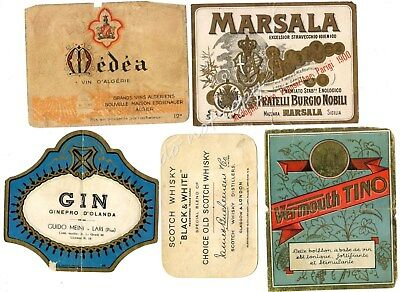 Liquor Label 5 Vintage Gin Marsala Medea Wine Vermouth Tino Scotch Black White