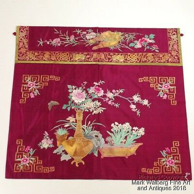 Chinese Embroidered Silk Textile Alter / Table Frontal, Flowers, 19th Century