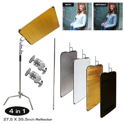 4-in-1 Collapsible Photography Studio Panel Reflectors Kit w/ Heavy Duty C Stand