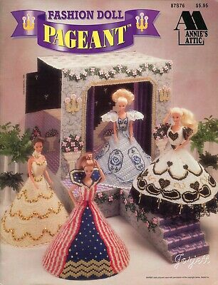 Fashion Doll Pageant ~ fits Barbie dolls, Annie's plastic canvas pattern booklet
