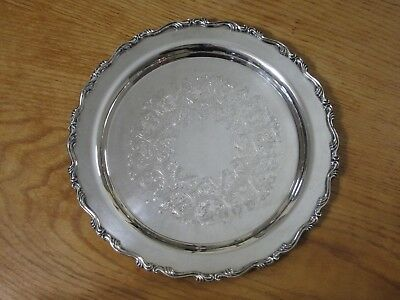 """WM A ROGERS SILVERPLATE GEORGIAN SCROLL 10 1/4"""" ROUND SERVING TRAY or PLATTER"""