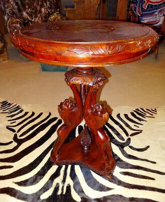 RARE Beautiful Hand Carved Teak Wood Lion & Prey Round Table Stand African Art
