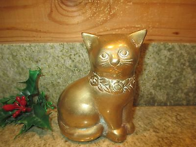"Vintage Solid Brass Kitty Cat 4.5"" Figurine Paperweight Collectible!"
