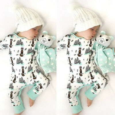 Newborn Infant Baby Boy Girl Fox Cotton Bodysuit Romper Jumpsuit Clothes Outfits