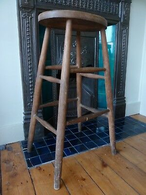 Vintage, Possibly Victorian Tall Stool, Been Through The Wars, Literally. Sturdy