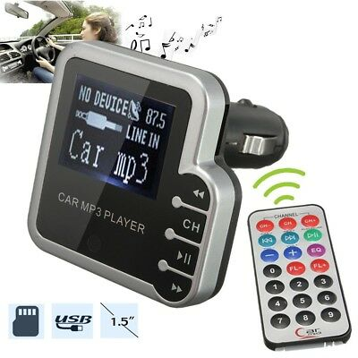 1.5″ LED Car Kit MP3 Player Wireless FM Transmitter Modulator USB SD MMC Remote