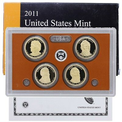 2011-S U.S. Mint Presidential 1$ Dollar Coin Proof Set - 4 Coins - COA & OGP