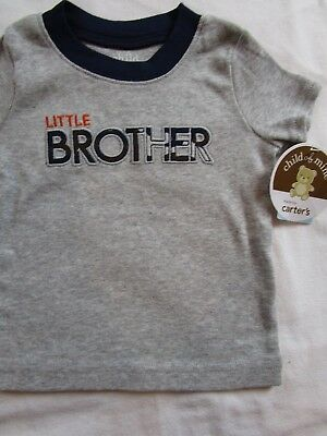 NWOT Baby Boy 3-6 month Grey Little Brother t shirt CHILD OF MINE CARTER'S NEW