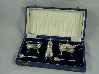 BOXED MAPPIN & WEBB solid silver CONDIMENT SET, 1979 & 80