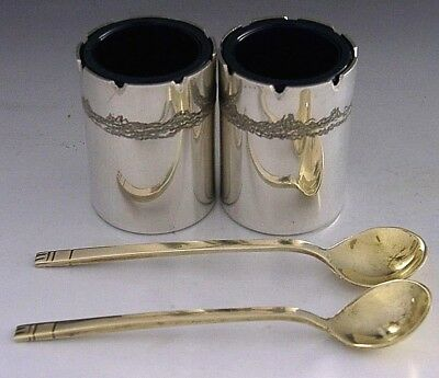 Modernist Hand Made English Sterling Silver Salt Cellars And Spoons 1981-83