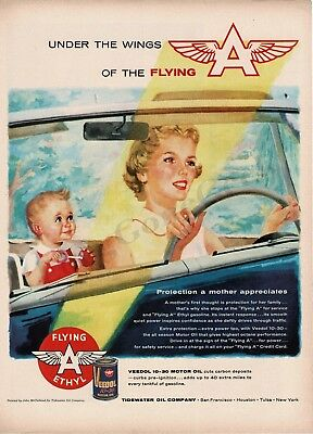 1956 Flying A Veedol Motor Oil Mother Baby In Car art Vtg Print Ad