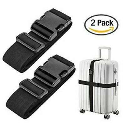 Lot 2 Black Adjustable Luggage Straps Suitcase Secure Baggage Check Travel Belt