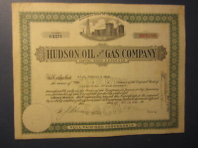 Old 1925 - HUDSON OIL & GAS COMPANY - Stock Certificate