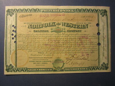 Old 1887 - NORFOLK and WESTERN RAILROAD Co. - Stock Certificate - F.J. KIMBALL