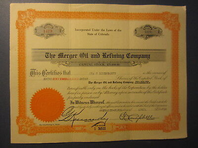 Old 1919 - MERGER OIL and REFINING COMPANY Stock Certificate - COLORADO