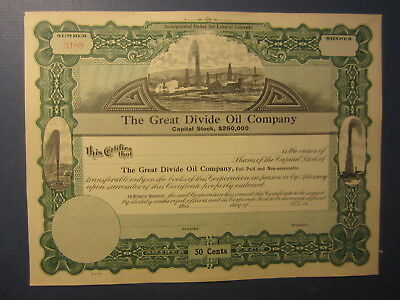 Old 1900's - THE GREAT DIVIDE OIL COMPANY - Stock Certificate - COLORADO