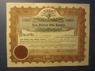 Old 1929 - NEW FEDERAL OILS LIMITED - OIL Stock Certificate - CALGARY CANADA