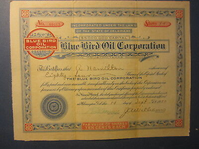 Old 1923 - BLUE BIRD OIL CORPORATION - Stock Certificate