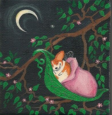 4x4 PRINT OF PAINTING PEMBROKE WELSH CORGI RYTA FAIRY FLOWERS SPRING ANGEL GIFT