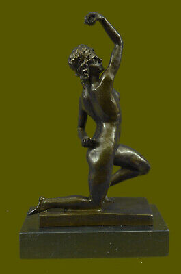 Close Out Sensual Nude Girl Discus Thrower Discobolus Famous Greek Bronze