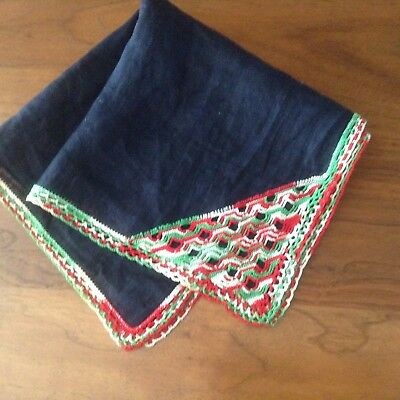 Antique Victorian Silk Mourning Handkerchief, Red/Green Lace Crochet, Lacy