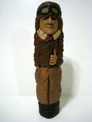 Antique Hand Carved Solid Hardwood Wood - Early Airplane Pilot - DOM 1991 '91