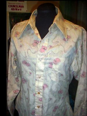 Authentic Men's VINTAGE 70's Ugly DISCO SHIRT Size MED. Pointy Collar Leisure