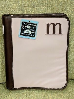 """""""M"""" M - 3 Ring Binder With The Initial M Sewn On The Cover - Brand New w/ Tag"""